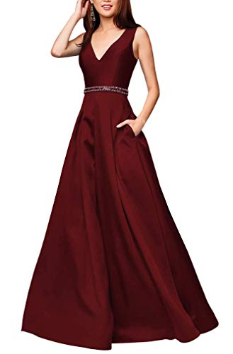 Miao Duo Women's Long V Neck Prom Prom Celebrity Dress Beaded Maxi Wedding Formal Party Quinceanera Ball Gowns with Pockets Burgundy 14