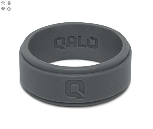 Qalo Mens Charcoal Grey Step Edge Q2x Silicone Ring  Size 12