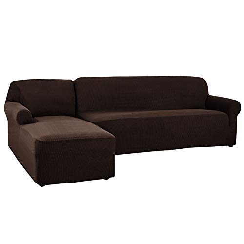 CHUN YI 2 Pieces L-Shaped 3 Seats Jacquard Polyester Stretch Fabric Sectional Sofa Slipcovers for Living Room (Left Chaise(3 Seats), Chocolate)