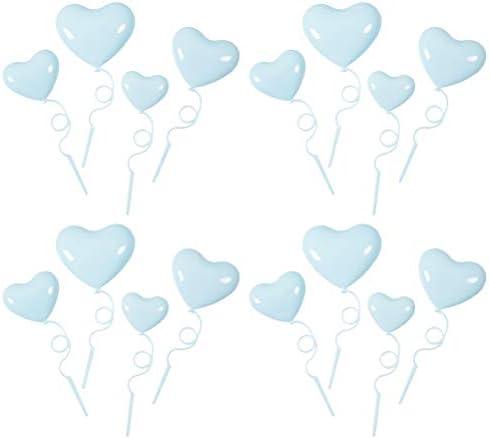 40ピースハート型風船ケーキトッパーかわいい誕生日ケーキの装飾品ロマンチックなバレンタインデーケーキトッパー用女の子パーティーケーキデコレーションライトブルー バレンタインの飾り