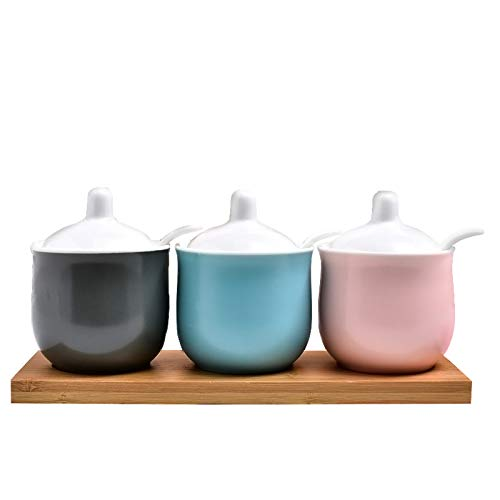 Gray Blue Pink Ceramic Sugar Bowls Condiment Pots Spice Jars Seasoning Box Set with Lid Spoon and Wooden Tray-Sets of 3