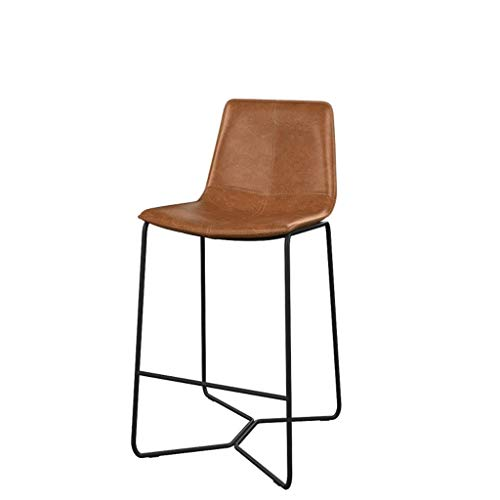 Metal Bar Stool Bar and Counter High Stool Fixed Height High Stool Non-rotatable Bar Stool Leather Seat Bar Stool (Size : H45 cm)