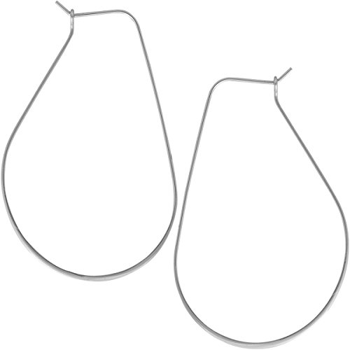 (Lightweight Threader Big Hoop Earrings - Round Oval Open Geometric Drop Dangles, Oval 925 White, Sterling Silver-Electroplated, Hypoallergenic, by Humble Chic NY)