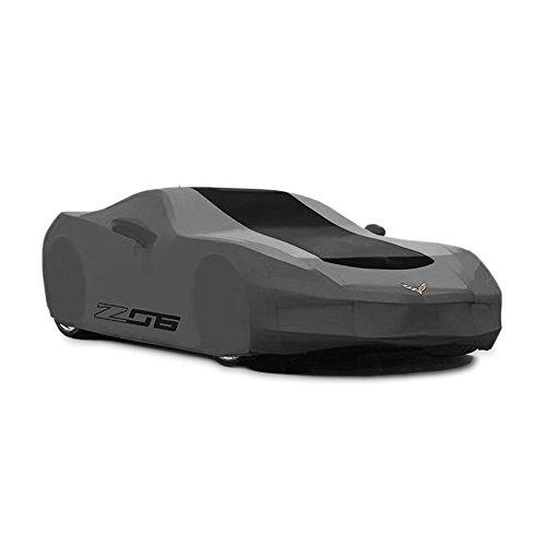 Corvette Z06 Car Cover - Corvette Car Cover - Z06 & Flags Logo - Outdoor - Grey w/Black Stripe : C7 Z06