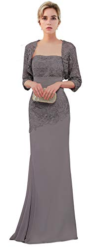 VaniaDress Women Long Mother of The Bride Dress with Jacket Formal Gowns V263LF Gray US12 from Vania Dress