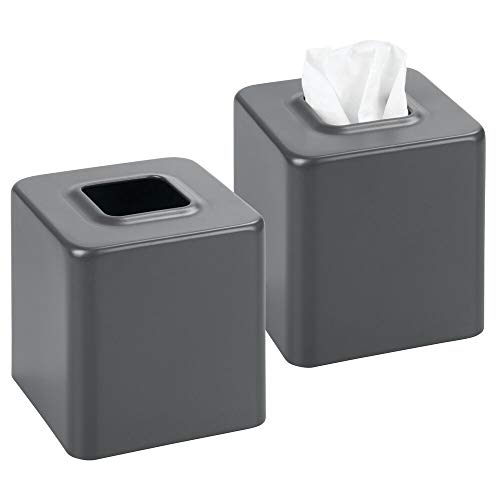 (mDesign Modern Square Metal Paper Facial Tissue Box Cover Holder for Bathroom Vanity Countertops, Bedroom Dressers, Night Stands, Desks and Tables - 2 Pack - Matte Slate Gray)