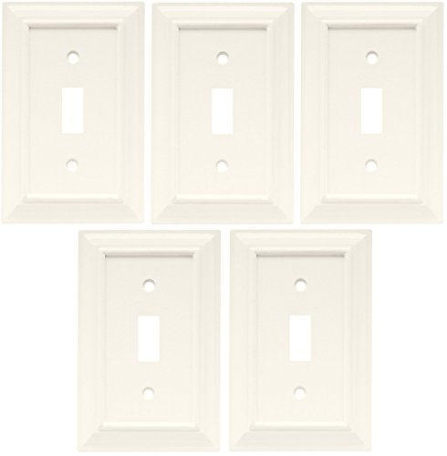 Liberty Hardware 126333 Wood Architectural Single Switch Wall Plate / Switch Plate / Cover White Set of 5