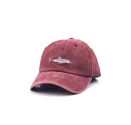 Stitched Shark Man Cap Baseball Embroidery Curved Strapback Dad Hat Summer Fish Sun Hat,01,55-60Cm]()