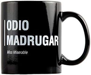 Taza Miss Miserable mensaje Odio madrugar - Taza original - Tazas de desayuno originales - Taza original de desayuno - Tazas graciosas - Tazas de café - Regalo original hombre - Regalo original mujer