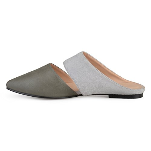 Brinley Co Womens Faux Suede Faux Leather Slip-On Mules Grey FJkA5