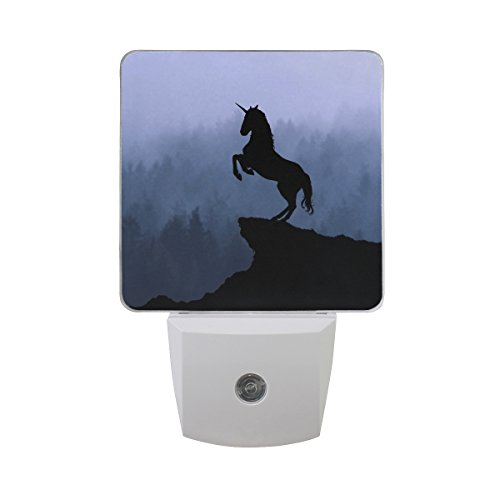 Naanle Set Of 2 Unicorn Silhouette Fog Forest Mountain Auto