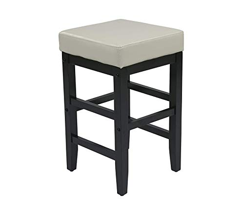 Оsp Dеsigns Metro Faux Leather Square Barstool with Espresso Legs, 25-inch, Cream