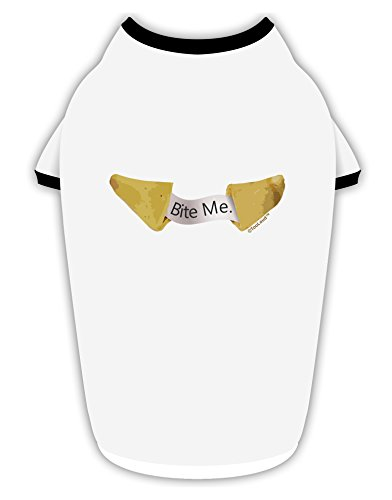 TooLoud Bite Me - Fortune Cookie Cotton Dog Shirt White with Black XL