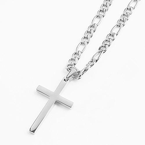 FZTN Jewelry White Gold Flat Figaro Chain Necklace with Cross Pendant for Men Boys 22 Inch 18K White Gold Plated Stainless Steel Fashion ()