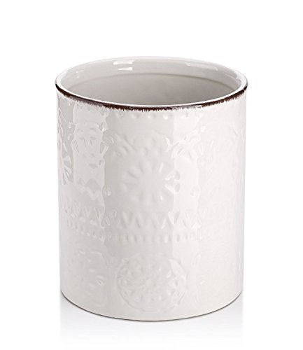 LIFVER Ceramic Embossed Crock Utensil Holder, Height 7.2 Inch, Diameter 6.2 Inch , White