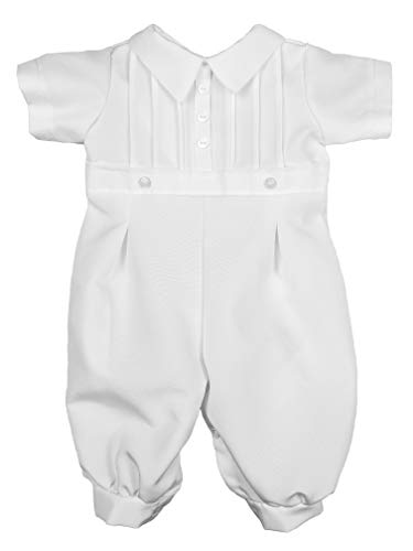 Little Things Mean A Lot Baby Boys White Short Sleeve Collared Romper Coverall with Pin-Tucking 12M
