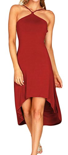Spaghetti Women Sexy Dress Irregular Party Backless Strap Solid Red Cocktail Domple Wine q5dgwYq