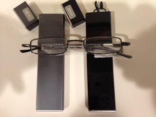 2 Pairs Strength Ultra Compact Foster Grant or Magnivision Reading Glasses Thins with Spring Hinges and Compact Metal Case +2.00(black or Gray Colors).