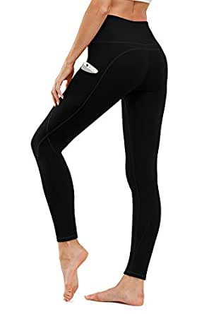 TUNGLUNG High Waist Yoga Pants, Yoga Pants with Pockets Tummy Control Workout Pants 4 Way Stretch Pocket Leggings - Black - X-Small