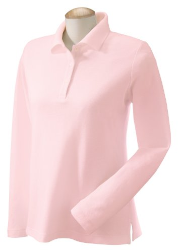 Devon & Jones Ladies' Pima Pique Long Sleeve Polo, 2XL, Pink