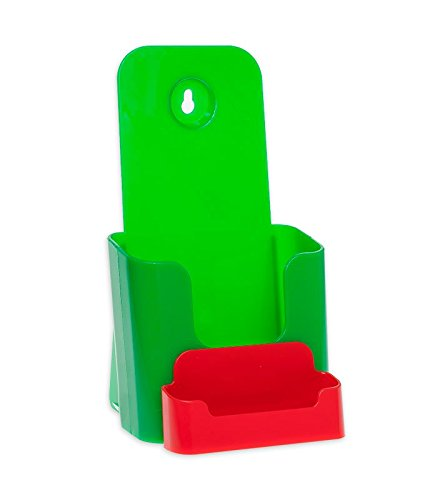 Green & Red 40 Pack Source One 4 X 9 Inches Tri Fold Brochure Holder with Business Card Holder (40 Pack, Black)
