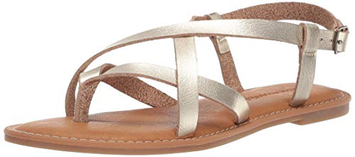 Amazon Essentials Women's Casual Strappy Sandal, Gold, 7.5 B US ()