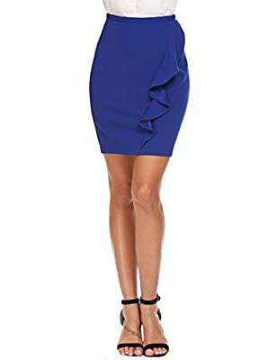 Zeagoo Women's High Waist Peplum Work Office Wear Bodycon Pencil Skirt