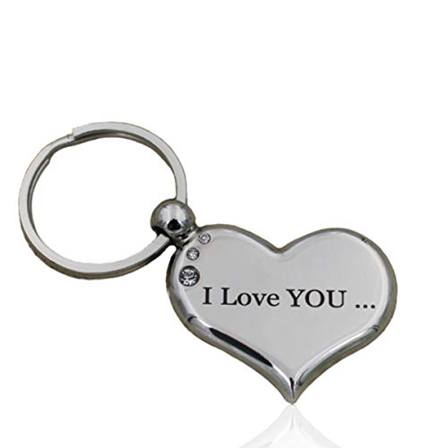 Heart Keychain I Love You to The Moon and Back Best Valentine's Day Christmas Gift for Her Both Sides Engraved Couple Key Ring for Girlfriend Boyfriend Sweetheart Lover Birthday Jewelry Unique Design