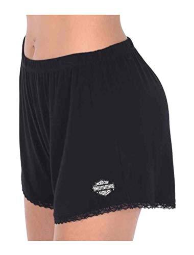 Harley-Davidson Women's Starry Nights Lace Trim Edges Lounge Shorts, Black -