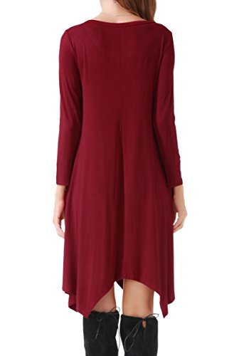Invug Women Casual Loose Soft Crewneck Long Sleeve Pockets Swing T-shirt Dress Dark Red XXL by Invug (Image #2)