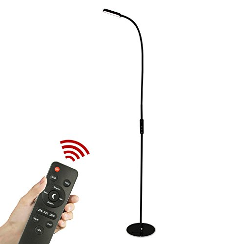 IMINOVO Modern Touch LED Floor Lamp with Remote,Flexible Gooseneck ,Level 5 dimming 5 color temperature mode,3000K-6500K,Adjustable 9W Chargable ,for Reading, Living Room, Bedrooms ,Black by IMINOVO