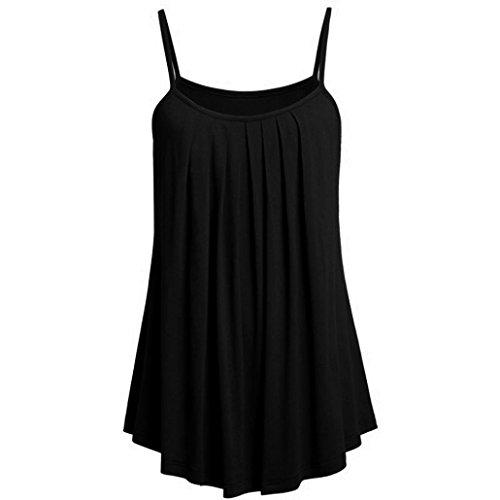 Women Tank Tops Plus Size,Lelili Fashion Solid Spaghetti Straps Loose Fit Ruched Flowy Swimg Vest Casual Shirt Blouse (S(Asian S=US XXS), C)