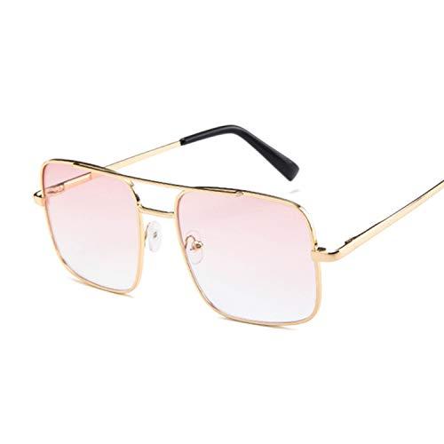 New Oversized Square Sunglasses Women Luxury Frame Transparent Gradient Sun Glasses Female Oculos De Sol Feminino,Double Pink (Spiegel, Transparent)