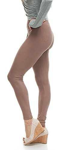 LMB Lush Moda Extra Soft Leggings - Many Best Selling Colors - Yoga Waist - Mocha (1 Mocha)