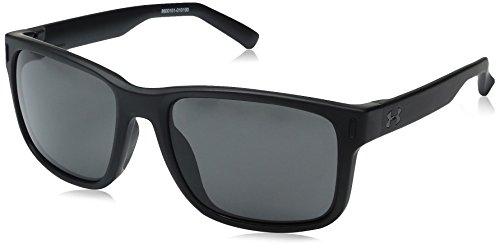 Under Armour UA Assist Square Sunglasses, UA Assist Satin Black/Black Frame/Gray Lens, M/L by Under Armour