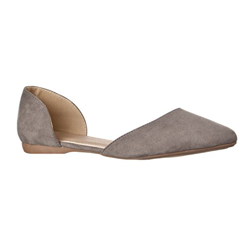 Riverberry Women's Riley Pointed Toe, D'Orsay Open Side Flat Shoe, Grey Suede, 7.5