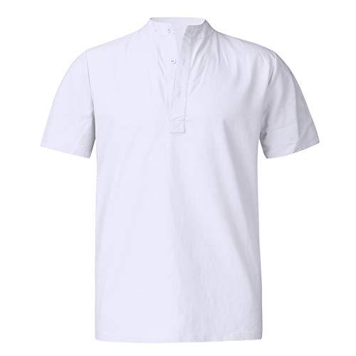 Men's Casual Slim Fit Henley Shirt Lightweight Long Sleeve Basic Summermen Henry Short Solid Linen Shirts Male Business White ()