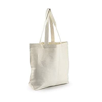 Eco Friendly Storage Canvas Tote Bag Reusable Grocery Shoulder Hand Shopper Ivory White