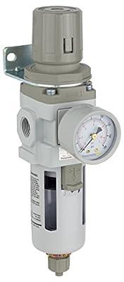 "PneumaticPlus SAW300-N03BG Compressed Air Filter Regulator Piggyback Combo 3/8"" NPT - Poly Bowl, Manual Drain, Bracket, Gauge"