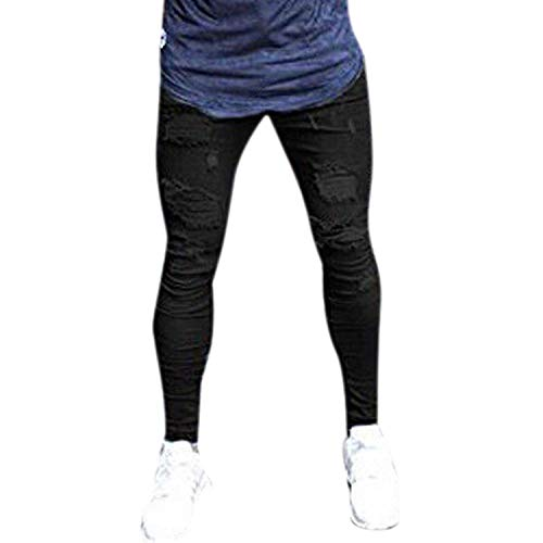 A Da Nero Uomo Matita Herenjeans Fit Strappati Elastici Con Stretch Denim Lunghi Slim Pantaloni Cher Jeans Fori qxSSUp