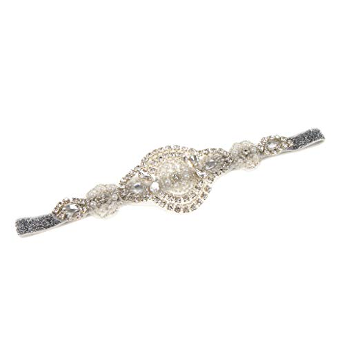 Prettyia 1920s Feather Flapper Headpiece Bridal Headdress Womens Headband Wedding Bridal Hen Party Costume Accessory - White Pearl -