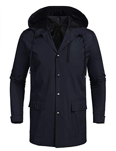 COOFANDY Men's Waterproof Rain Jacket with Hood Lightweight Raincoat Packable Rainwear for Outdoor,Camping,Travel Navy Blue