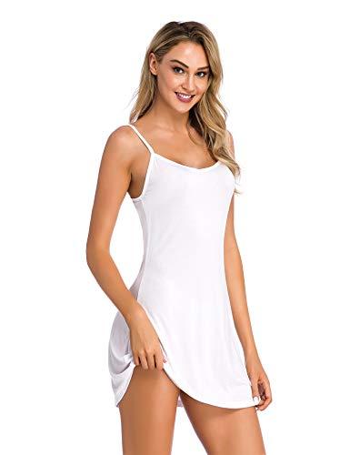 (Popbee Women's Spaghetti Strap Active Basic Camisole Slip Dress White Small)