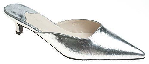 AnnaKastle Womens Pointy Toe Low Kitten Heel Mule Slide Chic Dress Sandal Shoes Metallic Silver