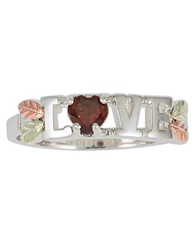 Garnet 'Love' Heart Ring, Sterling Silver, 12k Green and Rose Gold Black Hills Gold Motif, Size 9 by The Men's Jewelry Store (for HER)