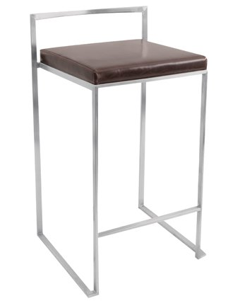 LumiSource Fuji Stackable Counter Stool in Brown - Set of 2