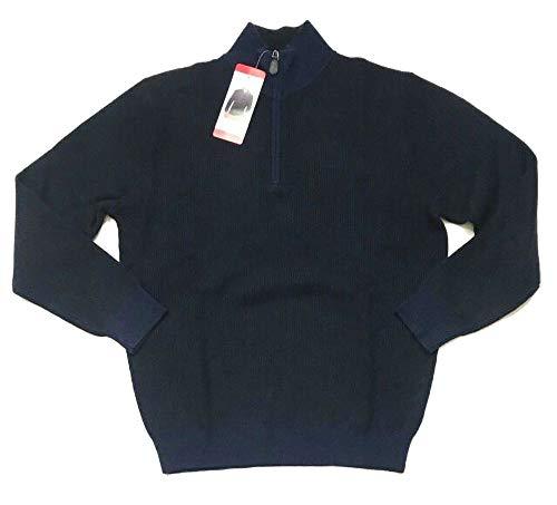BELFORD Men's Cashmere 1/4 Zip Sweater, Navy/Black, Large