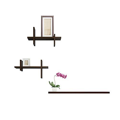 (CHENGXI Wall-Mounted Flower Stand Multi-Functional Decorative Frame Indoor Plant Stand Black Walnut Wood Flower Shelf Bookshelf Plant Holder (Color : Black))
