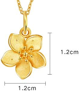 Amody 18k Yellow Gold Necklace Jewelry Flower Pendant Gold Anniversary Pendant Necklace for Women