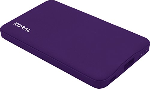 Koral Luma 6000 Portable Charger - Compact 6000mAh Power Bank (External Battery) for iPhone X, XS, XS Max, XR, 8/8 Plus, Samsung Galaxy and Other Cell Phones (Purple)